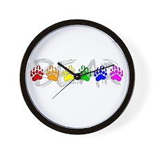 Rainbow Bear Tracks Wall Clock