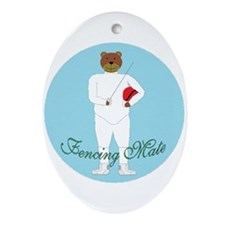 Teddy Fencer Oval Ornament