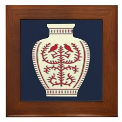 Asian Vase (Blue) Framed Tile