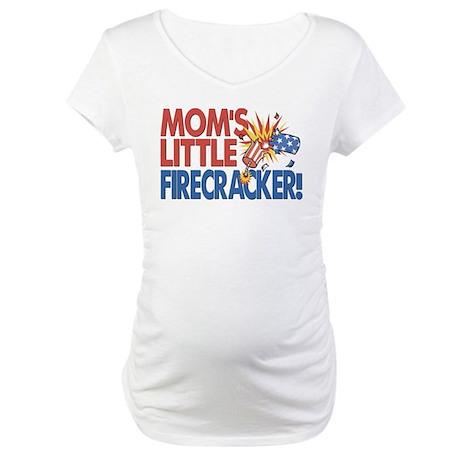 Mom's Little Firecracker Maternity T-Shirt