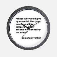 Benjamin Franklin Liberty Quote Wall Clock