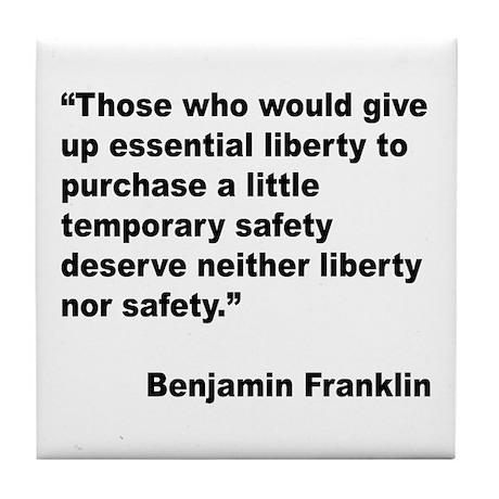 Benjamin Franklin Liberty Quote Tile Coaster