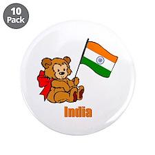 "India Teddy Bear 3.5"" Button (10 pack)"