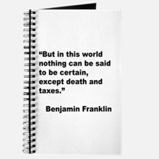 Benjamin Franklin Death Taxes Quote Journal