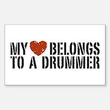 My Heart Belongs to a Drummer Rectangle Decal