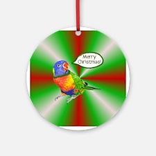 Rainbow Lory Merry Christmas Ornament
