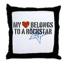 My Heart Belongs to a Rockstar Throw Pillow