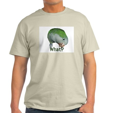 "Quaker Parrot ""What?"" Ash Grey T-Shirt"