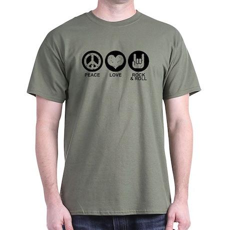 Peace Love Rock and Roll Dark T-Shirt