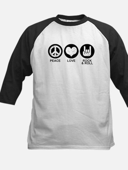 Peace Love Rock and Roll Kids Baseball Jersey