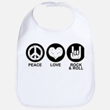 Peace Love Rock and Roll Bib