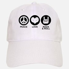 Peace Love Rock and Roll Baseball Baseball Cap