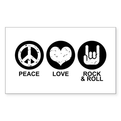 Peace Love Rock and Roll Rectangle Sticker