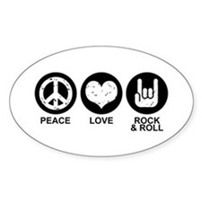 Peace Love Rock and Roll Oval Decal