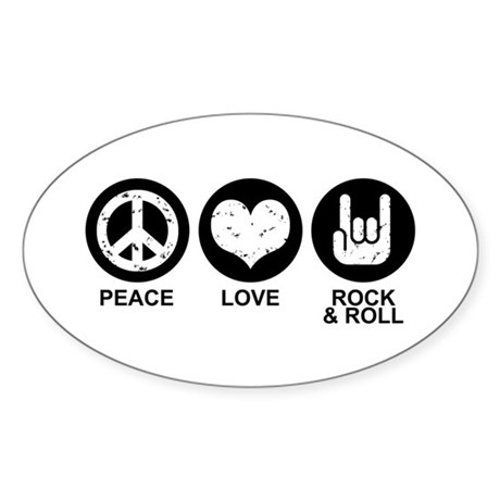 Peace Love Rock and Roll Oval Sticker