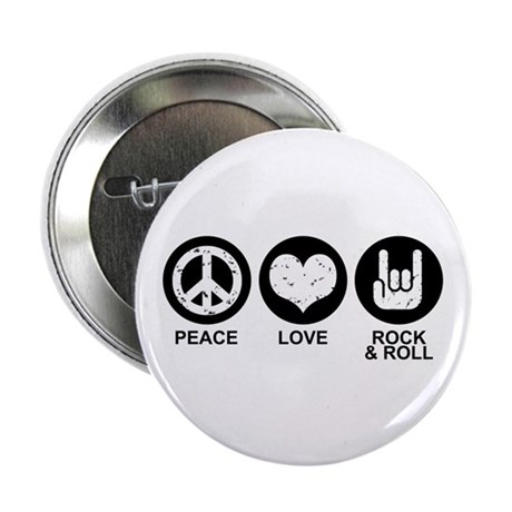 """Peace Love Rock and Roll 2.25"""" Button"""