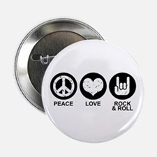 "Peace Love Rock and Roll 2.25"" Button"