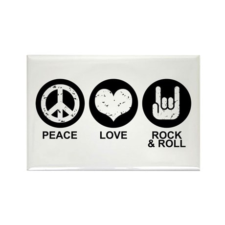 Peace Love Rock and Roll Rectangle Magnet
