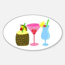 Cocktails Anyone? Oval Decal