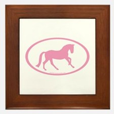 Pink Canter Horse Oval Framed Tile
