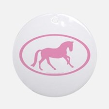 Pink Canter Horse Oval Ornament (Round)