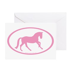 Pink Canter Horse Oval Greeting Card