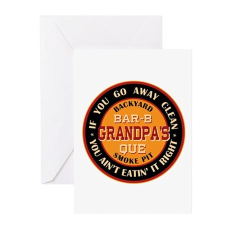 Grandpa's Backyard Bar-b-que Pit Greeting Cards (P