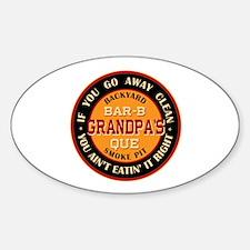 Grandpa's Backyard Bar-b-que Pit Oval Decal