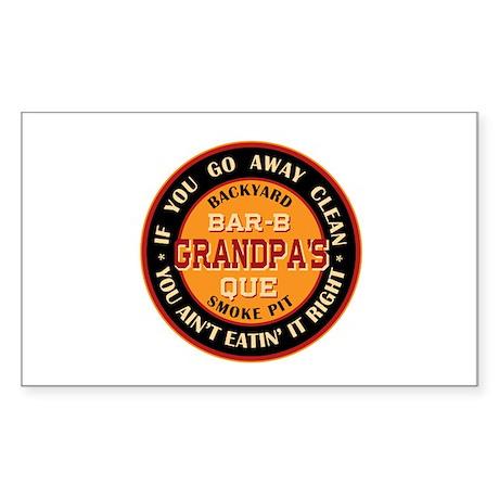 Grandpa's Backyard Bar-b-que Pit Sticker (Rectangl