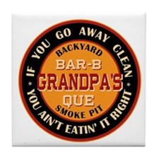 Grandpa's Backyard Bar-b-que Pit Tile Coaster