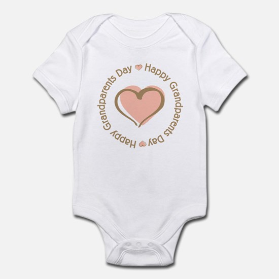 Happy Grandparents Day Pink Heart Infant Bodysuit