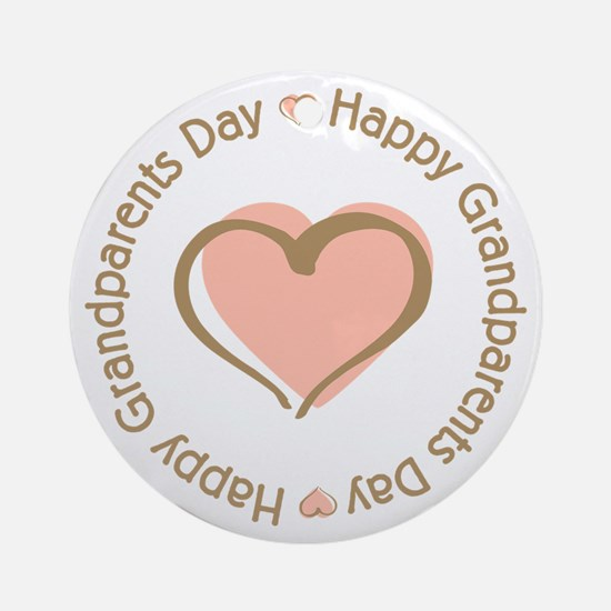 Happy Grandparents Day Pink Heart Ornament (Round)