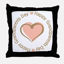 Happy Grandparents Day Pink Heart Throw Pillow
