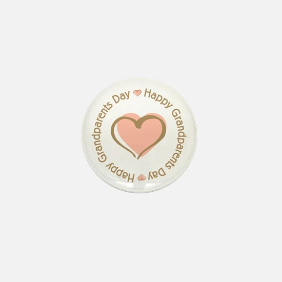 Happy Grandparents Day Pink Heart Mini Button