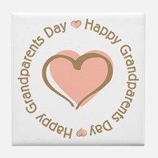 Happy Grandparents Day Pink Heart Tile Coaster