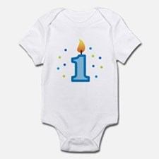 First Birthday - Candle (Boy) Infant Bodysuit