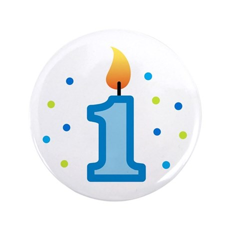 """First Birthday - Candle (Boy) 3.5"""" Button"""