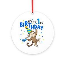 First Birthday - Monkey Ornament (Round)