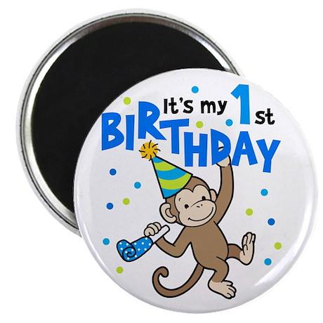 "First Birthday - Monkey 2.25"" Magnet (100 pack)"