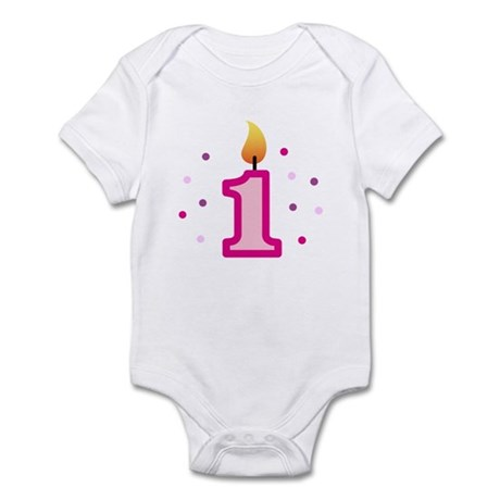 First Birthday - Candle (Girl) Infant Bodysuit