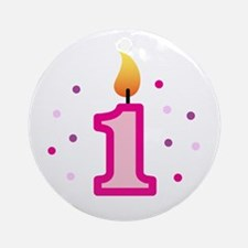 First Birthday - Candle (Girl) Ornament (Round)