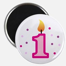 First Birthday - Candle (Girl) Magnet