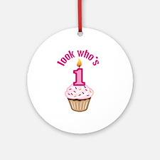 First Birthday - Cupcake (Girl) Ornament (Round)