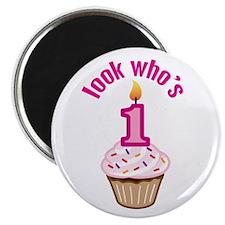 "First Birthday - Cupcake (Girl) 2.25"" Magnet (10 p"