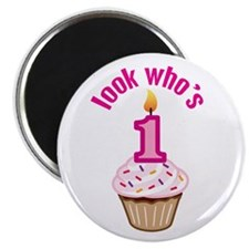"First Birthday - Cupcake (Girl) 2.25"" Magnet (100"