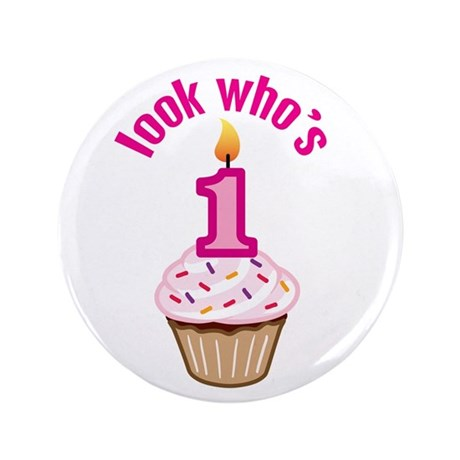 "First Birthday - Cupcake (Girl) 3.5"" Button"