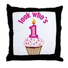 First Birthday - Cupcake (Girl) Throw Pillow