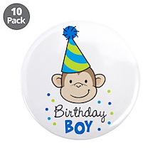 "Birthday Boy - Monkey 3.5"" Button (10 pack)"