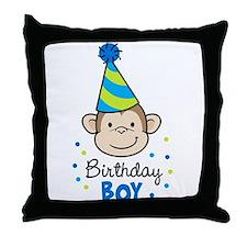 Birthday Boy - Monkey Throw Pillow