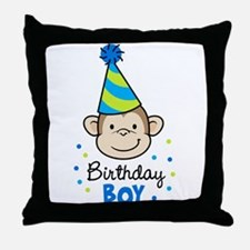 Birthday Boy - Monkey Throw Pillow